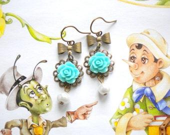 Bridesmaid Pearl Earrings Children Earrings Flower Girl Gift Turquoise Earrings Flower Girl Earrings Turquoise Bridesmaid Earrings