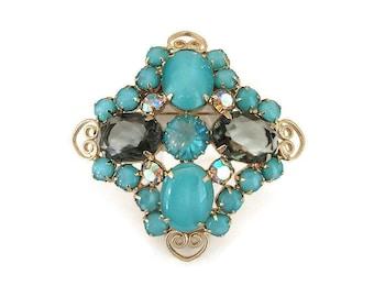 Vintage Rhinestone Brooch, Aqua Blue, Charcoal Gray, Aurora Borealis, Gold Tone, Juliana Style, Unsigned Designer, Vintage Jewelry