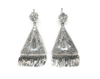 Silver Filigree Earrings, Middle Eastern, Moroccan Style, Dangle Earrings, Fringe, Boho, Silver Jewelry, Vintage Earrings, Vintage Jewelry