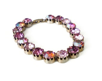 Vintage Pink Rhinestone Bracelet - Aurora Borealis, Gold Tone, Tennis Bracelet, Vintage Jewelry, Weiss Kramer Style, Unsigned Designer