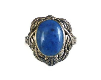 Sterling Blue Lapis Glass Ring - HAN 925, Silver Jewelry, Vintage Ring, Blue Art Glass, Leaf Design, Vintage Jewelry, Size 6.25