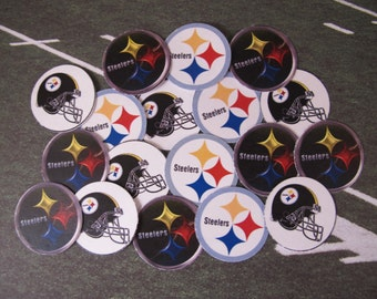 """50 Pre-cut 1"""" round Steelers Bottlecap images Scrapbooking/Bows"""