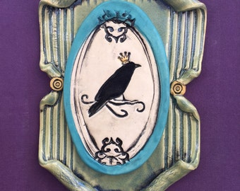 Crow, Blackbird, Raven, Ceramic Wall Art, Clay Art