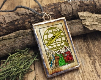 Across the Sea of Stars...soldered glass pendant with Carl Sagan quote