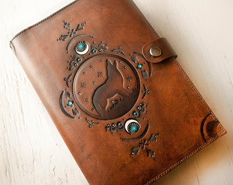Leather Journal - Night Wolf Moon - Native Crescent Hand Tooled Leather Diary - Southwestern - Mesa Dreams - Made to Order - Dream Journal