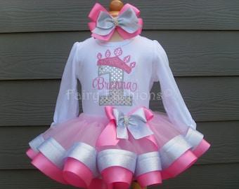 Custom tutu..RIBBON trimmed deluxe tutu set..PRINCESS CROWN silver, pink tutu, cinderella, birthday, 3 month-3T,costume, birthday, crown