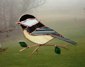 Chickadee - Large Stained Glass Bird Suncatcher 1185
