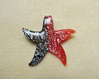 Glass Starfish Pendant - Red and Black with Silver and Copper - 55mm - Focal Piece, Lampwork, Murano Glass - Jewelry Making Supply