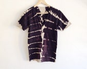 Black and Beige Ribcage Dyed Deep V T-shirt