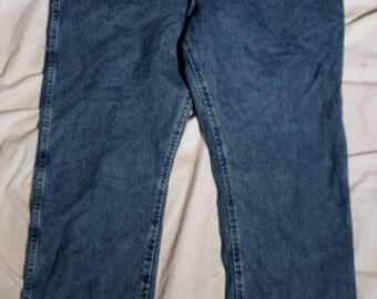 Newer Looking Mens Wrangler cowboy cut 47mwzsw Regular Fit 42 X 30 Faded Blue Denim Jeans