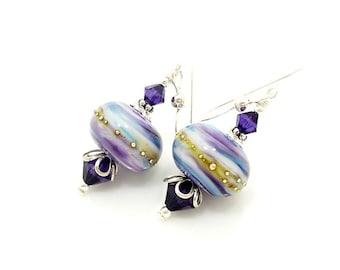 Purple Blue Earrings, Lampwork Earrings, Glass Earrings, Glass Bead Earrings, Beadwork Earrings, Glass Art Earrings, Unique Earrings