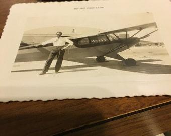 Vintage circa 1947 aviatior aviation airplane photo 4 x 3.
