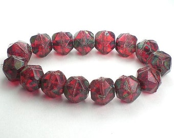 Picasso Czech Glass Beads 10mm Red Czech English Cut Beads with Picasso 10 Pcs. E-1040