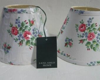 "Pair Laura Ashley Lamp Shades 6"" Vintage"