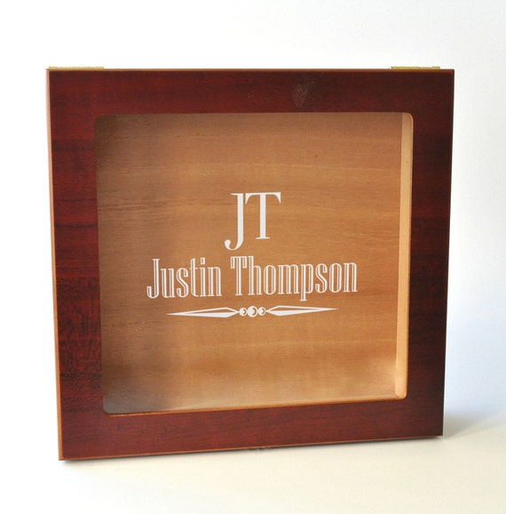 Personalized Glass Top Humidor Engraved with Your Name