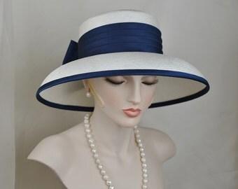 Ladies Elegant Navy Blue Silk Satin Straw Hat, Couture Hat, Designer Hat