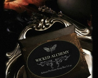 Wicked Alchemy Perfume Soap 3.5oz  Hand Milled Natural Artisan Herbal  Pumpkin Spice,Ginger,Vanilla, Vetiver, Clove,Cardamom,Tobacco,Hickory