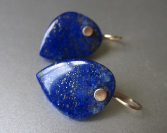 Large Lapis Drops Solid 14k Gold Earrings