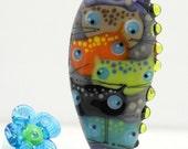 Cat bead , multicolored cats , lampwork glass bead , handblown artisan sra focal bead