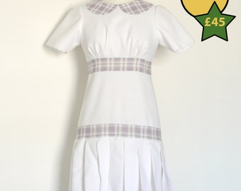 Size 10 - White & Lilac 1920's Tennis Dress - Made by Dig For Victory