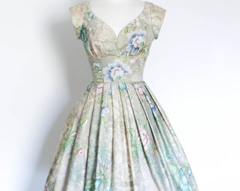 Teal Blue and Stonewashed Floral Sweetheart Prom Dress - Made by Dig For Victory