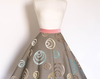 Taupe Pastel Flocked Flared Skirt - Made by Dig For Victory
