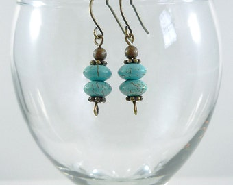 Turquoise Earrings Turquoise Brass Drop Earrings Turquoise Gemstone Earrings Turquoise Drops Brass Turquoise Earrings Turquoise and Brass