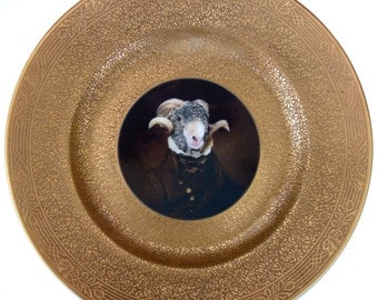 Sir Ovis Aries Portrait Plate  -  Altered Vintage Plate 10.75""