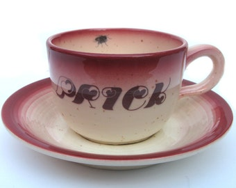 SALE - Prick Altered Vintage Teacup and Saucer
