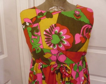 ON SALE  Vintage  1960's Psychedelic Maxi Dress  Made In Hawaii For Andrade Resort Shops  Deadstock