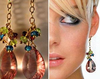 Gemstone drop earrings,gemstone cluster earrings,multi gemstone earrings,gold earrings,dangle earrings,blue topaz,peridot,pink quartz