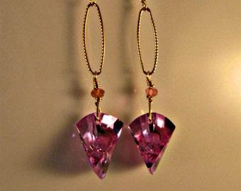 CZ Dangle earrings,drop earrings,dangle earrings,hoop earrings,gemstone earrings,gold earrings,fuschia earrings,pink earrings,cubic zirconia