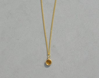 Swarovski November Birthstone- Topaz Gold Plated Drop Necklace