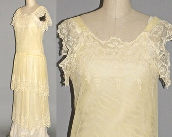 SALE 1930s Dress, 30s Embroidered Net Lace Bohemian Wedding Dress with Romantic Flutter Sleeves and Drop Waist, Small