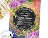 Gold Confetti Bridal Shower Invitation, Gold Glitter, Printable Invitation, Bright Floral, Elegant, Purple, Digital or Printed Invitation