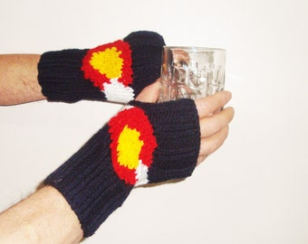 Colorado flag hand knit fingerless gloves arm warmers for mens gift, dad gift, colorado gift