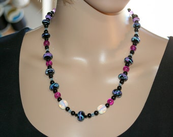 Beaded Necklace. Necklace. Crystal Necklace. Lampwork Beaded Necklace. Earrings. Necklace and Earrings