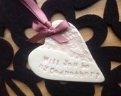 Will you be my godmother pink ceramic heart keepsake gift card