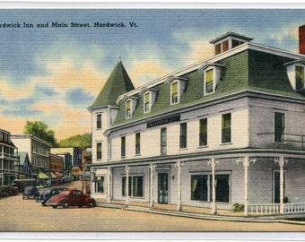 Hardwick Inn Main Street Hardwick Vermont linen postcard