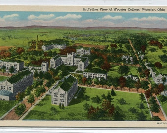 Birdseye View Wooster College Wooster Ohio postcard