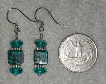 Chrysocolla, Aqua Czech beads, and Pewter Earrings