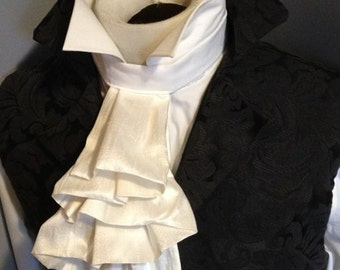 Ivory SILK Regency Historic Victorian White JABOT Tie - Pure Dupioni Silk