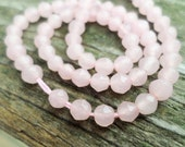 Faceted Light Pink Jade 4mm Round Beads Full Strand