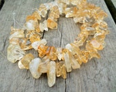 Amber Ice Flake Quartz Chips Full Strand 9-18mm