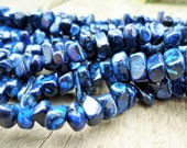 Dark Blue Magnesite Medium Chip Beads Full Strand 8-12mm 16 inch Strand