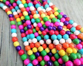 Bubble Gum Colors Magnesite (dyed) 4mm Rounds Full Strand
