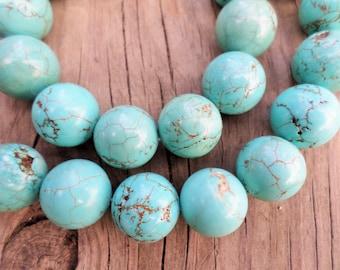 Turquoise Magnesite 18mm Round Beads Full Strand