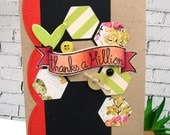 Thanks a Million Hexagon Green Pink Handmade Card