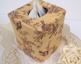 French sparrow tissue box cover