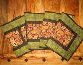 Fall Table Runner, Paisley Earth Tones Green, Orange Black, Quilted Table Runner, Reversible Table Runner, Long Runner, Handmade Runner